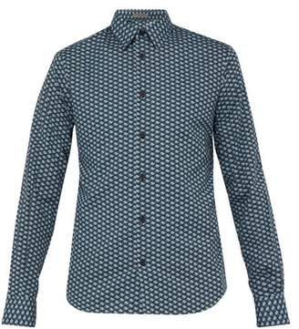 Bottega Veneta Butterfly Print Cotton Shirt - Mens - Blue