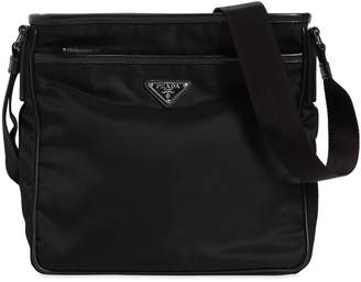 Prada Nylon Crossbody Bag W/ Leather Trim