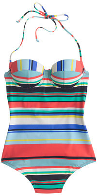 J.CrewDD-cup underwire halter one-piece swimsuit in colorful stripe