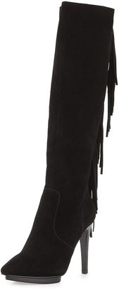 Neiman Marcus Finley Suede Fringe High-Heel Boot, Black $299 thestylecure.com