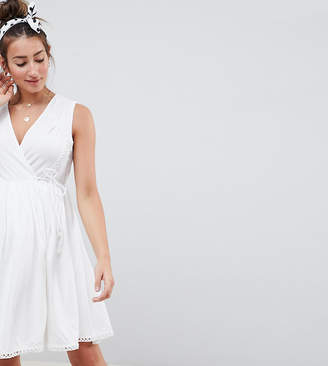 Asos DESIGN Maternity mini wrap sundress with embroidered trims