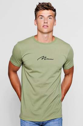 boohoo Man Signature Chest Embroidered Longline T-Shirt