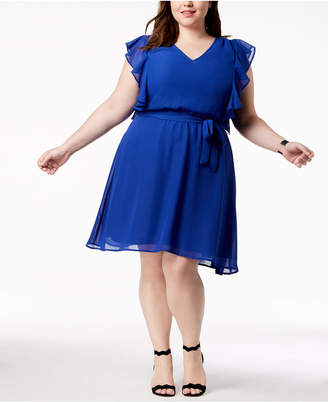 Love Squared Trendy Plus Size Flutter-Sleeve A-Line Dress