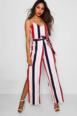 boohoo Wide Leg Striped Jumpsuit