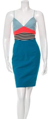 L'Agence Stripe-Accented Sheath Dress