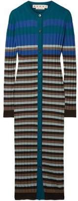 Marni Striped Ribbed Wool Cardigan