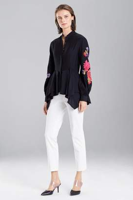 Josie Natori Cotton Like Embroidered Tunic Top