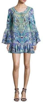 Camilla A-Line Frill Coverup Mini Dress, Multi $600 thestylecure.com