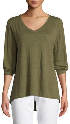 Eileen Fisher Organic Linen Jersey V-Neck Top, Petite