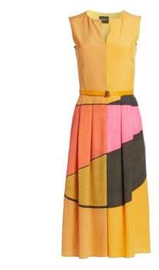 Akris Sleeveless Sunrise Print Dress