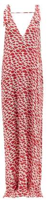 Adriana Degreas Bacio Lip Print Maxi Dress - Womens - Red White