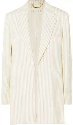 Chloé Belted Pinstriped Woven Blazer - Cream