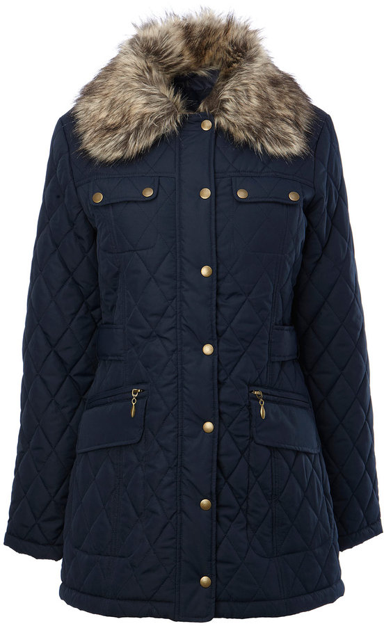 Navy 3/4 Length Quilted Zip Up Coat With Fur Collar