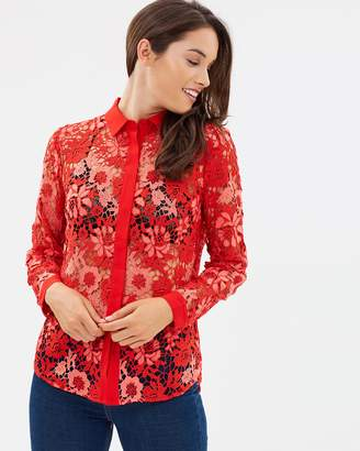 French Connection Musea Lace Mix Shirt