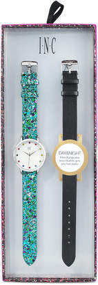 INC International Concepts I.n.c. Women's Gold-Tone Glitter Faux Leather Strap Watch 36mm with Interchangeable Strap
