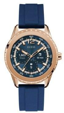 GUESS Analog Touchscreen Rosegold Silicone Strap Watch