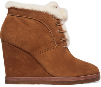 Michael Kors Collection - Chadwick Shearling-trimmed Suede Wedge Boots - Tan $550 thestylecure.com