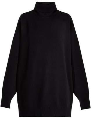 Raey Split Side Roll Neck Cashmere Sweater - Womens - Navy