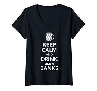 Womens Keep Calm And Drink Like A Banks St Patricks Drinking V-Neck T-Shirt