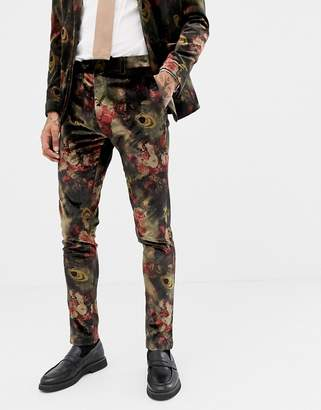 Devils Advocate Slim Fit Floral Velvet Suit Pants