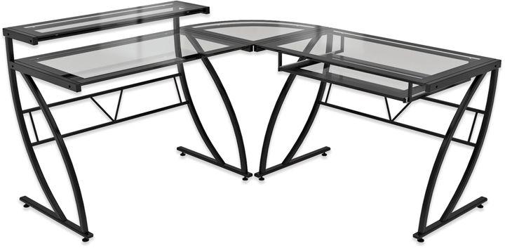 Bed Bath & BeyondZ-Line Designs Feliz L-Shaped Glass Desk in Black