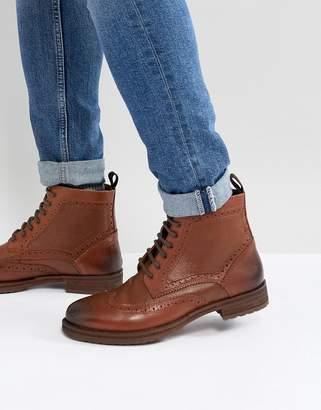 Burton Menswear Leather Lace Up Boot In Tan