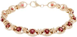 "14K Gold 7-1/4"" Gemstone Station Bracelet"