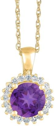 14K Gold Round Gemstone Halo Pendant w/ Chain