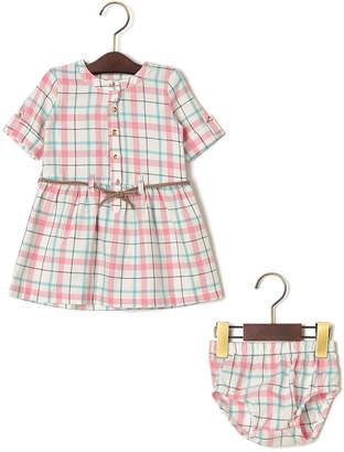 Carter's ブルマ&ベルト付 チェック 半袖ドレス ピンク 18m