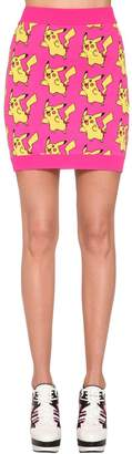 Jeremy Scott Cotton Knit Intarsia Mini Skirt