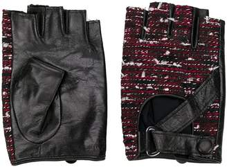 Karl Lagerfeld tweed fingerless gloves