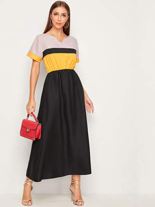 Shein Cut And Sew Notched Collar Dress