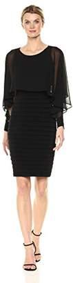 London Times Women's Long Sleeve Round Neck Sheath Dress
