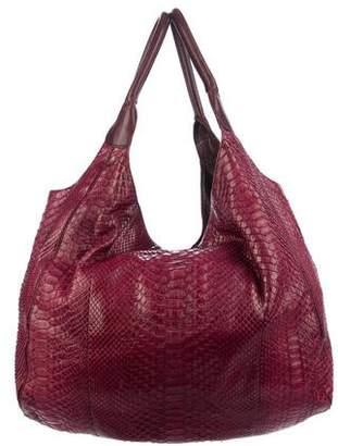 Devi Kroell Leather-Trimmed Python Hobo