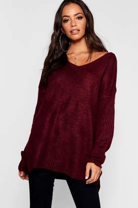 boohoo Sweater With V Neck Detail Front And Back