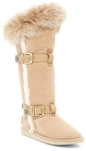 Australia Luxe Collective Australia Luxe Collective Tsar Tall Genuine Fox Fur and Shearling Boot