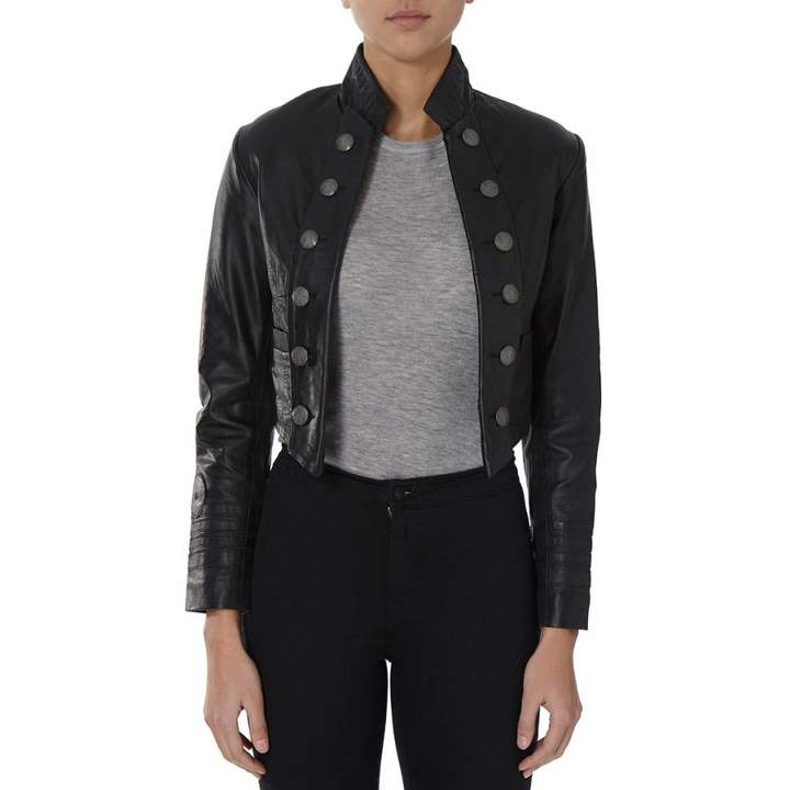 Black Military Cropped Leather Jacket