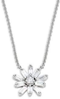 KC Designs Mosaic Starburst 14K White Gold & Baguette Diamond Pendant Necklace