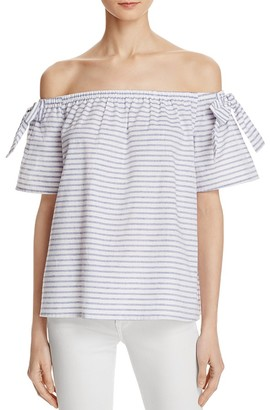 AQUA Striped Off-The-Shoulder Top - 100% Exclusive $48 thestylecure.com