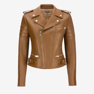 Bally Lamb Nappa Leather Biker Jacket Brown, Women's leather biker jacket in cowboy