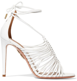 Aquazzura - Nadja Leather Sandals - White $875 thestylecure.com
