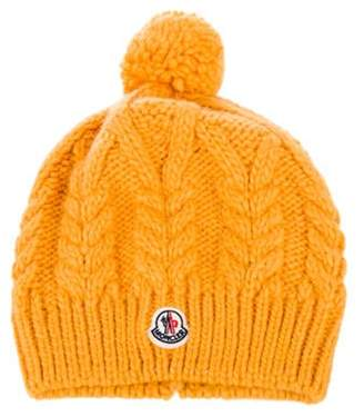 Moncler Wool Cable-Knit Beanie Orange Wool Cable-Knit Beanie