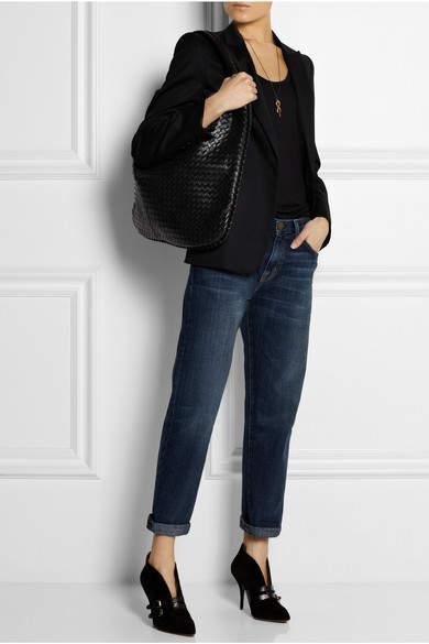 Bottega Veneta Maxi Veneta Intrecciato Leather Shoulder Bag - Black
