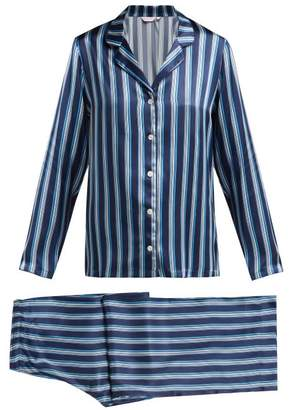 0c0e5c52a021b Derek Rose Brindisi Striped Silk Pyjamas - Womens - Navy Multi