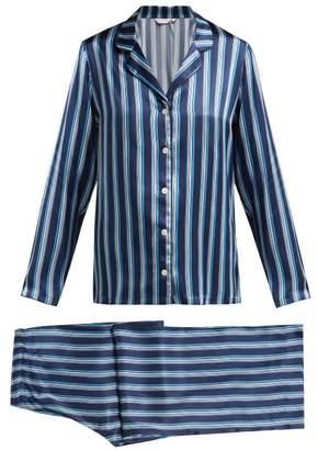 Derek Rose Brindisi Striped Silk Pyjama Set - Womens - Navy Multi