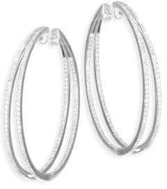 Meira T Diamond& 14K White Gold Hoop Earrings