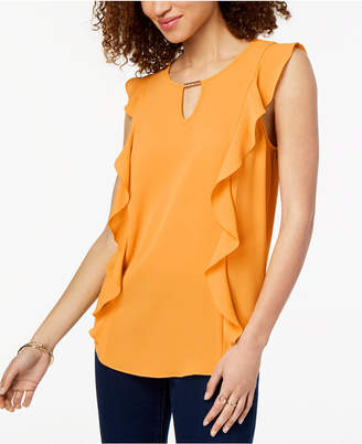 BCX Juniors' Side-Ruffle Blouse