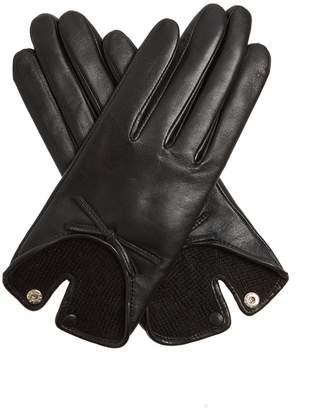 Bow-embellished leather gloves
