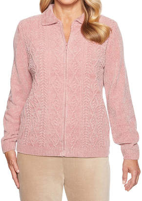 Alfred Dunner Home For The Holidays Long Sleeve Collar Neck Cardigan