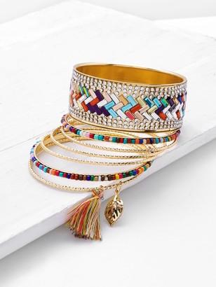 Shein Rhinestone & Tassel Decorated Bracelet Set